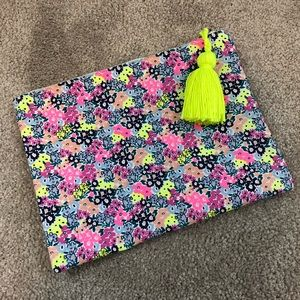 Small neon floral pouch with tassel, EUC